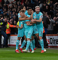 Newcastle United's Matt Ritchie (left) celebrates scoring his side's second goal with team-mate  <br /> <br /> Photographer David Horton/CameraSport<br /> <br /> The Premier League - Bournemouth v Newcastle United - Saturday 16th March 2019 - Vitality Stadium - Bournemouth<br /> <br /> World Copyright © 2019 CameraSport. All rights reserved. 43 Linden Ave. Countesthorpe. Leicester. England. LE8 5PG - Tel: +44 (0) 116 277 4147 - admin@camerasport.com - www.camerasport.com
