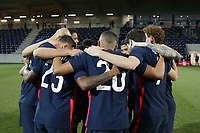 WIENER NEUSTADT, AUSTRIA - MARCH 25: USMNT huddle before a game between Jamaica and USMNT at Stadion Wiener Neustadt on March 25, 2021 in Wiener Neustadt, Austria.