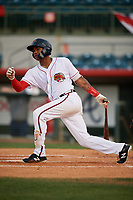 Florida Fire Frogs center fielder Cristian Pache (25) follows through on a swing during a game against the Palm Beach Cardinals on May 1, 2018 at Osceola County Stadium in Kissimmee, Florida.  Florida defeated Palm Beach 3-2.  (Mike Janes/Four Seam Images)