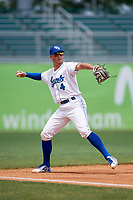 Lexington Legends third baseman Travis Jones (4) throws to first base during a game against the Rome Braves on May 23, 2018 at Whitaker Bank Ballpark in Lexington, Kentucky.  Rome defeated Lexington 4-1.  (Mike Janes/Four Seam Images)