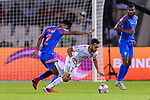 Jamal Rashed Abdulrahman of Bahrain (R) gets tripped as he fights for the ball with Salam Ranjan Singh of India (L) during the AFC Asian Cup UAE 2019 Group A match between India (IND) and Bahrain (BHR) at Sharjah Stadium on 14 January 2019 in Sharjah, United Arab Emirates. Photo by Marcio Rodrigo Machado / Power Sport Images