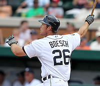 Detroit Tigers Brennan Boesch #26 hits a home run during a exhibition game vs. the Florida Southern Mocs at Joker Marchant Stadium in Lakeland, Florida;  February 25, 2011.  Detroit defeated Florida Southern 17-5.  Photo By Mike Janes/Four Seam Images