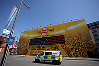 Pictured: A police van travels past a Walkers Wave giant screen in Westgate Street. Thursday 25 May 2017<br />