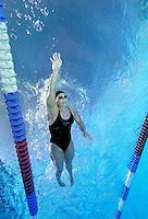 Sara Nordenstam, Norwegian national swimming team training in an outdoor  pool. Frognerbadet, Oslo, Norway..© Fredrik Naumann/Felix Features