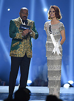 ATLANTA, GA - DECEMBER 8: 2019 MISS UNIVERSE: Host Steve Harvey and Miss France, Maëva Coucke appear on the 2019 MISS UNIVERSE competition airing LIVE onSunday, Dec. 8(7:00-10:00 PM ET live/PT tape-delayed) on FOX. (Photo by Frank Micelotta/FOX/PictureGroup)