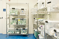 "Packaged cannabis products ready for distribution and sale are seen in the ""vault"" at the production and packaging facility for Garden Remedies, a medical cannabis producer, in Fitchburg, Massachusetts, USA, on Fri., Feb. 22, 2019."