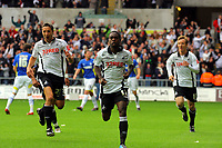 ATTENTION SPORTS PICTURE DESK<br /> Pictured: Nathan Dyer (centre) of Swansea City celebrates scoring <br /> Re: Coca Cola Championship, Swansea City Football Club v Cardiff City FC at the Liberty Stadium, Swansea, south Wales. Saturday 07 November 2009