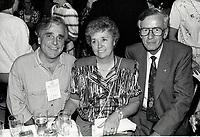 Montreal (Qc) CANADA - July 1992 File Photo - Juste Pour Rire Festival - Jean Besre (L), Jean Campeau (R)