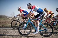 Dutch Road Champion Mathieu Van der Poel (NED/Alpecin-Fenix) having no problems with the rough cobbles (choosing the roadside gravel instead)<br /> <br /> 53rd Le Samyn 2021<br /> ME (1.1)<br /> 1 day race from Quaregnon to Dour (BEL/205km)<br /> <br /> ©kramon