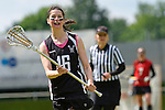 GER - Hannover, Germany, May 30: During the Women Lacrosse Playoffs 2015 match between SCC Blax Berlin (red) and KIT SC Karlsruhe (black) on May 30, 2015 at Deutscher Hockey-Club Hannover e.V. in Hannover, Germany. Final score 17:7. (Photo by Dirk Markgraf / www.265-images.com) *** Local caption *** Katrin Erlenbach #16 of KIT SC Karlsruhe