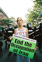 Protest outside Democratic National Convention Boston MA July, 2004