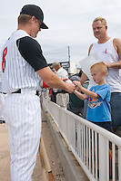 Gordon Beckham (8) of the Kannapolis Intimidators signs an autograph for Tyler Westerholt at Fieldcrest Cannon Stadium in Kannapolis, NC, Saturday August 24, 2008. (Photo by Brian Westerholt / Four Seam Images)
