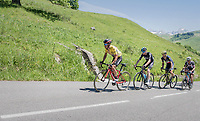 a from teammates isolated Richie Porte (AUS/BMC) is forced to set the pace up the Col de la Colombière in pursuit of other GC contenders up ahead and with Chris Froome (GBR/SKY), Roman Kreuziger (CZE/ORICA-Scott) & Warren Barguil (FRA/Sunweb) in tow<br /> <br /> 69th Critérium du Dauphiné 2017<br /> Stage 8: Albertville > Plateau de Solaison (115km)