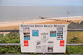 Scripture Union Beach Mission sign on Southwold Beach, Suffolk