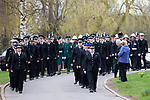 © Joel Goodman - 07973 332324 . 17/03/2012 . Staffordshire , UK . The funeral of former police officer David Rathband , at Stafford Crematorium . Rathband was found dead at his home in Blyth on 29th February 2012 . He was shot and blinded by killer Raoul Moat whilst he was on duty in the early hours of 4th July 2010 and went on to campaign for the Blue Lamp Foundation , which supports emergency staff injured in the line of duty , but he was reported to have never overcome the psychological impact of his injuries . Photo credit : Joel Goodman