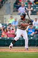 Arkansas Travelers right fielder Keury De La Cruz (34) at bat during a game against the Frisco RoughRiders on May 28, 2017 at Dickey-Stephens Park in Little Rock, Arkansas.  Arkansas defeated Frisco 17-3.  (Mike Janes/Four Seam Images)