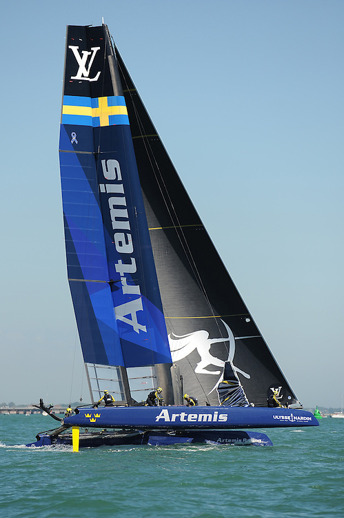 Artemis Racing, JULY 23, 2016 - Sailing: Artemis Racing races in light winds during day one of the Louis Vuitton America's Cup World Series racing, Portsmouth, United Kingdom. (Photo by Rob Munro/Stewart Communications)