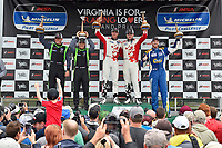 #60 KohR Motorsports Ford Mustang GT4, GS: Nate Stacy, Kyle Marcelli, #39 Carbahn Motorsports Audi R8, GS: Tyler McQuarrie, Jeff Westphal, #80 BimmerWorld Racing BMW M4 GT4, GS: Ari Balogh, Mike Skeen celebrate the win the podium