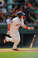 Right fielder Tate Matheny (16) of the Greenville Drive bats in a game against the Hagerstown Suns on Sunday, July 17, 2016, at Fluor Field at the West End in Greenville, South Carolina. Hagerstown won, 3-2. (Tom Priddy/Four Seam Images)