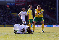 Pictured L-R: Dwight Tiendalli of Swansea on the ground after being brought down by Robert Snodgrass of Norwich who accuses him of diving. Saturday 06 April 2013<br /> Re: Barclay's Premier League, Norwich City FC v Swansea City FC at the Carrow Road Stadium, Norwich, England.