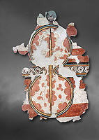 The 'figure of eight shield'  Mycenaean fresco wall painting, Mycenae, Greece Cat No 11672. National Archaeological Museum, Athens.  Grey art Background <br /> <br /> The Mycenaean 'figure of eight shield' were originaly made of cows hide and was the symbol of a goddess of war.