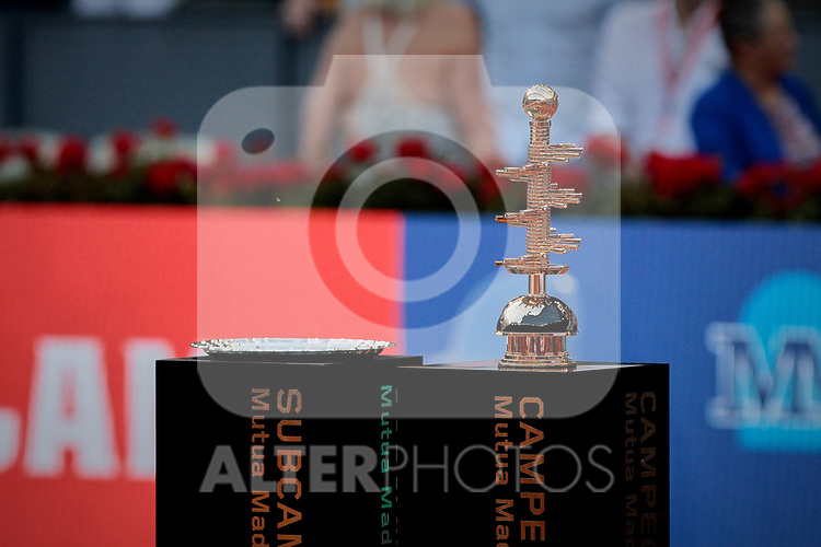 Mutua Madrid Open Masters final match trophy at Caja Magica in Madrid, Spain. Novak Djokovic beat Stefanos Tsitsipas. May 12, 2019. (ALTERPHOTOS/A. Perez Meca)