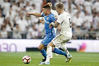 Real Madrid's Toni Kroos (r) and Getafe CF's Francisco Portillo during La Liga match. August 19,2018.  *** Local Caption *** © pixathlon<br /> Contact: +49-40-22 63 02 60 , info@pixathlon.de