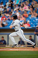 West Michigan Whitecaps designated hitter Chad Sedio (31) follows through on a swing during the second game of a doubleheader against the Lake County Captains on August 6, 2017 at Classic Park in Eastlake, Ohio.  West Michigan defeated Lake County 9-0.  (Mike Janes/Four Seam Images)
