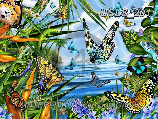 Lori, REALISTIC ANIMALS, REALISTISCHE TIERE, ANIMALES REALISTICOS, zeich, paintings+++++Geckos And Butterflies By The Sea,USLS201,#a#, EVERYDAY ,puzzle,puzzles