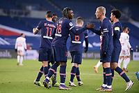 9th January 2021, Paris, France; French League 1 football, St. Germain versus Stade Brest; BIOTY MOISE KEAN PSG with MITCHEL BAKKER PSG