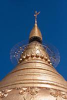 Myanmar, Burma.  Top of Shwezegon (Shwezigon) Pagoda, near Bagan.