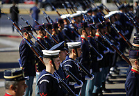 Pictured: Members of the armed forces at the Unknown Soldier Monument outside the Greek Parliament in Syntagma Square.<br /> Re: Turkey's president Recep Tayyip Erdogan has begun a landmark visit to Greece. Thursday 07 December 2017