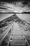 The narrow isthmus between North & South Bruny Island in Tasmania, Australia
