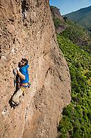 'Armagedon' 7c+, Des Plomelandia sector, Las Chilcas, Chile <br /> Climber: Carlos Lastra