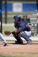 New York Yankees catcher Eduardo Navas (24) during a minor league Spring Training game against the Toronto Blue Jays on March 30, 2017 at the Englebert Complex in Dunedin, Florida.  (Mike Janes/Four Seam Images)