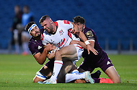 25 September 2020; Aaron Sexton of Ulster A is tackled by Max Deegan, left, and Jimmy O'Brien of Leinster during the A Interprovincial Friendly match between Leinster A and Ulster A at the RDS Arena in Dublin. Photo by Ramsey Cardy/Sportsfile/Dicksndigital