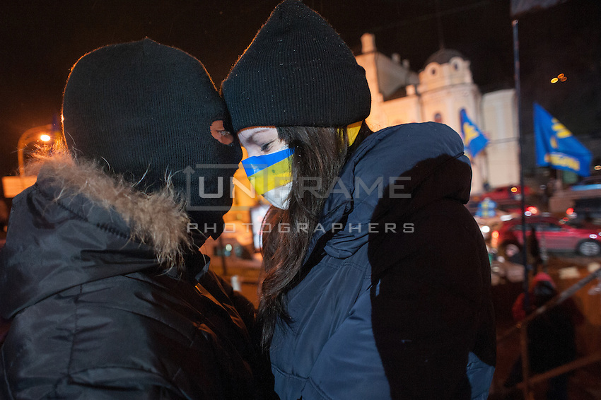 Protesters seen at european square in Kiev, Ukraine. Thousands of people are continuing to express their support to european integration and protesting against decision of Ukrainian government to refuse signing of association with EU in Vilnius.