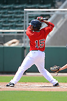 GCL Red Sox third baseman Aneudis Peralta (15) during a game against the GCL Twins on July 19, 2013 at JetBlue Park at Fenway South in Fort Myers, Florida.  GCL Red Sox defeated the GCL Twins 4-2.  (Mike Janes/Four Seam Images)