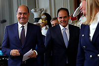Nicola Zingaretti, Andrea Marcucci Democratic Party who accepted to make a Government with the Movement 5 Stars<br /> Rome August 28th 2019. Quirinale. Consultation with the President of the Republic for the new Government day two.<br /> Foto  Samantha Zucchi Insidefoto