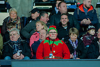 Sunday  14th   December 2014 <br /> Pictured: A fan dressed as an elf watches the game <br /> Re: Barclays Premier League Swansea City v Tottenham Hotspur  at the Liberty Stadium, Swansea, Wales,UK