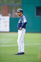Columbus Clippers bench coach Bobby Magallanes (23) during a game against the Gwinnett Stripers on May 17, 2018 at Huntington Park in Columbus, Ohio.  Gwinnett defeated Columbus 6-0.  (Mike Janes/Four Seam Images)
