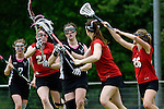 GER - Hannover, Germany, May 30: During the Women Lacrosse Playoffs 2015 match between SCC Blax Berlin (red) and KIT SC Karlsruhe (black) on May 30, 2015 at Deutscher Hockey-Club Hannover e.V. in Hannover, Germany. Final score 17:7. (Photo by Dirk Markgraf / www.265-images.com) *** Local caption ***