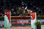Marc Houtzager of The Netherlands riding Sterrehof's Edinus competes in the Masters One DBS during the Longines Masters of Hong Kong at AsiaWorld-Expo on 11 February 2018, in Hong Kong, Hong Kong. Photo by Diego Gonzalez / Power Sport Images