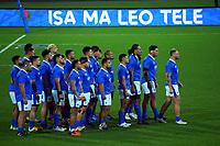 Manu Samoa perform a haka before the international rugby match between Manu Samoa and the Maori All Blacks at Sky Stadium in Wellington, New Zealand on Saturday, 26 June 2021. Photo: Dave Lintott / lintottphoto.co.nz