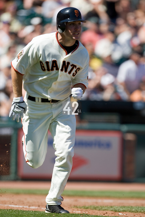 12 April 2008: #21 John Bowker of the Giants runs the bases as he hits an homerun to right in the 6th inning during the St. Louis Cardinals 8-7 victory over the San Francisco Giants at the AT&T Park in San Francisco, CA.