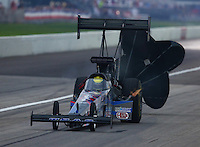 Aug 30, 2014; Clermont, IN, USA; NHRA top fuel dragster driver Larry Dixon during qualifying for the US Nationals at Lucas Oil Raceway. Mandatory Credit: Mark J. Rebilas-USA TODAY Sports