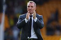 28th August 2021; Carrow Road, Norwich, Norfolk, England; Premier League football, Norwich versus Leicester; Leicester City Manager Brendan Rogers celebrates the 1-2 win