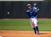 IMG Academy Ascenders shortstop Stone Russell (13) throws to first base during a game against the Lakeland Dreadnaughts on February 20, 2021 at IMG Academy in Bradenton, Florida.  (Mike Janes/Four Seam Images)