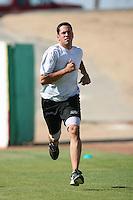 July 30 2008: Derek McDaid of the Lake Elsinore Storm before game against the High Desert Mavericks at Mavericks Stadium in Adelanto,CA.  Photo by Larry Goren/Four Seam Images