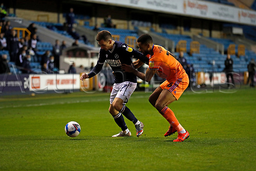 21st November 2020; The Den, Bermondsey, London, England; English Championship Football, Millwall Football Club versus Cardiff City; Curtis Nelson of Cardiff City marking Jed Wallace of Millwall